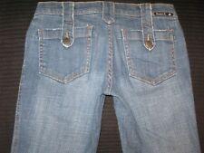 Frankie B Jeans Button Strap Pockets Low Bootcut Distressed  Sz  6