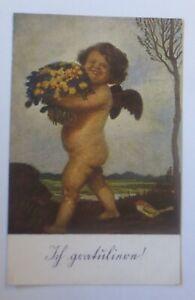 Angel, Amor, Flowers, Ich Congratulations, 1907, A.Hengeler (25140)