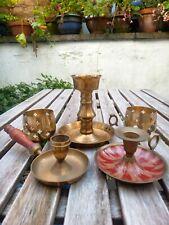 More details for set 5 vintage brass candlesticks job lot chamber sticks tea light candle holders