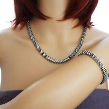Damen Schmuckset Kette & Armband Edelstahl Set leicht Halskette Collier silber