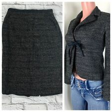 Max Mara Tweed Two Piece Jacket & Skirt Suit Set Size 2