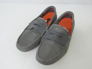 Swims Brown Gray Penny Loafers Men's size 8  Driver Shoes