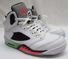 Men's Nike Air Jordan 5 Retro White/Infrared 23-Poison Green 136027-115 Size 8.5