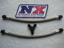 "DUAL BOTTLE OR DIRECT PORT *NEW NX NITROUS BLACK 4AN Y-FITTING + 12"" #4 LINE KIT"