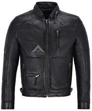 Men's Leather Jacket Black Biker Motorcycle Style Zip Collar 100% Leather 9056