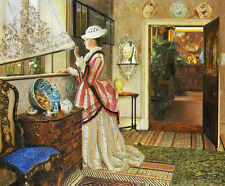 Hand painted art oil painting John Atkinson - Interior woman standing by window