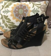 "BCBGeneration Black Leather Strappy Wedges ""Blayne"", Size 9.5, Super Cute!"