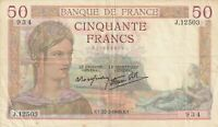 France 50 Francs 1940 Banknote Pick 85 85b WWII Vintage Currency Old Money