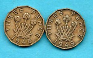 1946 & 1949 BRASS THREEPENCE COINS. KEY DATES. GEORGE VI. 2 X SCARCE 3d.