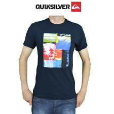 Mens Quiksilver Tees T-Shirt Summer Cotton Sewen Graphic Top Australian Surf Q6