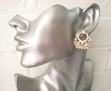 Beautiful large gold tone - crystal & faux pearl cluster stud post earring - 3cm