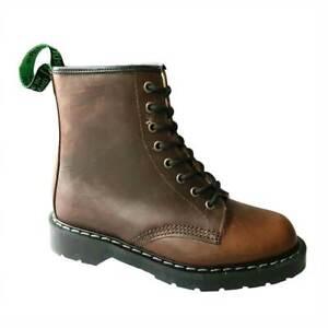 Solovair Brown Greasy Leather Shearling 8Eye Boot 8-Loch-Stiefel braun gefüttert