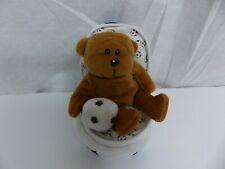 Plushland Zip Up Soccer Ball w/ Brown Teddy Bear Plush Stuffed Animal