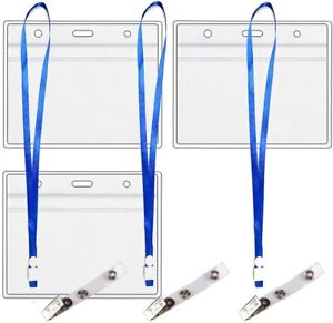 Vaccination  Record Card Protector  4x3 with 3 Clips & 3 Lanyards,   (3 Pack)