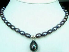 7-8MM Real Natural Rice Black Pearl & Shell Pearl Pendant(12x16MM) Necklace 18""