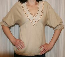 GUINEVERE Anthropologie Sweater Top Beige Taupe Gold Metallic Lace Knit Small