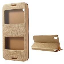 Schutz Tasche Hülle Flip Cover für HTC Desire 816 SLIM GOLD CHAMPAGNER VIEW 24C