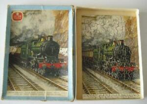 Vintage Chad Valley Wooden Jigsaw South Wales Express At Severn Tunnel c1960s