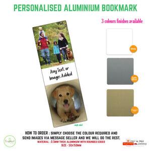 Personalised Photo aluminium Bookmark Metal Gift Literary Books 150x50mm