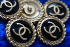 STAMPED VINTAGE CHANEL BUTTONS LOT OF 5 Logo CC BLACK 20 MM ⚫