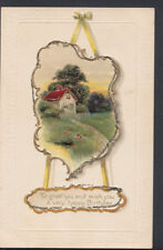 Greetings Postcard - Embossed Happy Birthday Greeting - Country Cottage  RS7615