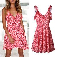 Women Sleeveless Strap V Neck Floral Backless Ladies Summer Short Mini Sun Dress