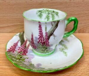 """Royal Albert Countess Demi Tass Shape """"Foxglove"""" Pattern Coffee Cup & Saucer."""