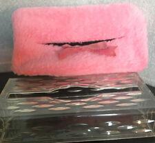 Pink Fur Cover Clear Hard Plastic Kleenex Box Cover Vintage Retro