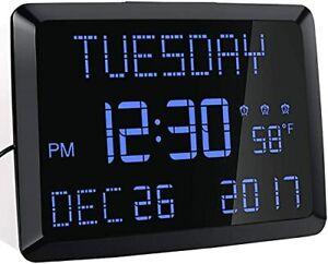 "Day Clock, 11.5"" Extra Large Display LED Digital Desk & Wall Calendar Alarm Day"