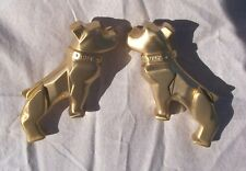 MACK TRUCK BULLDOG GOLD MIRROR SIDE FENDER HOOD ORNAMENT EMBLEMS NOS HOT RAT ROD