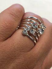 Rhinestone Ring Sz 7.5 Fashion Silver Tone Wire Clear