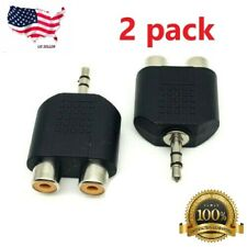 2 PACK 3.5mm STEREO MALE PLUG TO 2 RCA FEMALE AUDIO ADAPTER CONNECTOR SPLITTER