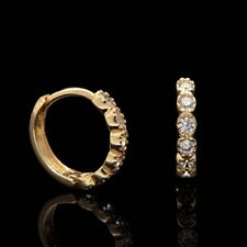 1/5 Ct Round Cut Diamond Classic Lady's Huggie Hoop Earrings 14k Yellow Gold GP