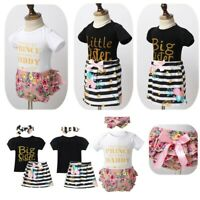 Baby Girls Summer Floral Outfit Set Newborn Infant Romper + Bloomers + Headband