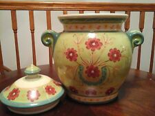 PIER 1 IMPORTS Hand Painted Earthenware COOKIE JAR or URN with Lid,Green Floral