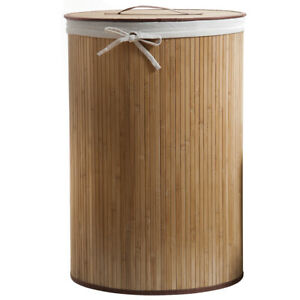 Compactor Round Natural Bamboo Laundry Hamper with Removable Liner 60cm x 40cm