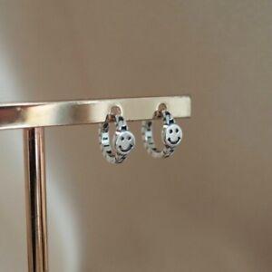 Smiley Face Hoop Earrings Sterling Silver 925