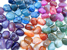 5 x ASSORTED AGATE POLISHED 23mm - 27mm LARGE TUMBLE STONES  BAG ID CARD