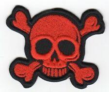 Small Orange Skull and Cross Bones Biker Patch