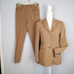 Ralph Lauren wool bl blazer,JACKET,PANT 4,6p,horse stretch  leather trim tan u5