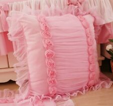 French Country Cottage Shabby Chic Princess Pink Pillow Cushion Cover*Lace