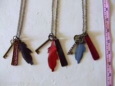 Handmade Leather Feather Pendants & Keys Necklace Metal Chain 3 in a lot