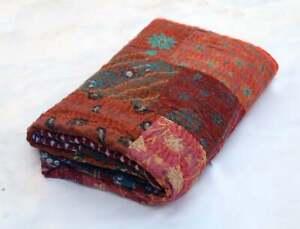Vintage Silk Kantha Quilt Bedspread Khambadiya Patchwork Blanket Bedding Throw