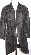 "Vintage Fancy black lace embroidered cutaway jacket Gorgeous 37"" long x 38.5"""