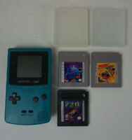 Gameboy Color Teal And 3 Games (kwirk,tetris,720) Missing Back Cover