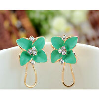 1 Pair Woman Lady Fashion Camellia Flower Ear Stud Earring Jewelry Gift