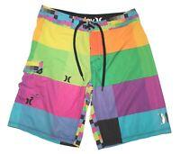 Hurley Phantom Multicolor Colorblock Swim Surf Board Shorts Men's Size 33