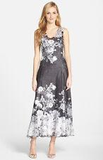NWOT KOMAROV DRESS IN LACE BACK PRINT CHARMEUSE MAXI FLORAL DRESS SIZE S $161.00