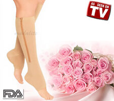 New Zippered Compression Knee Socks Leg Support Open Toe Stockings Beige Large