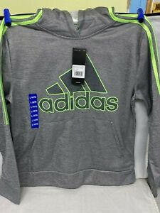 Adidas Boys' Size L-14/16 and S-8 Youth Tech Fleece Hoodie Gray/Green (1012)